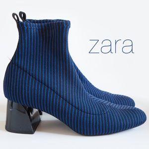ZARA Blue Pinstripe Sock Ankle Boots